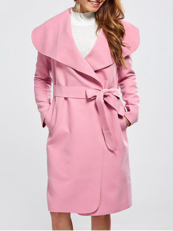 affordable Shawl Collar Belted Wrap Coat - PINK S