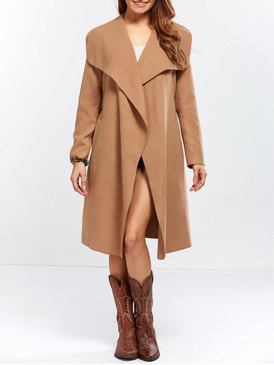 معطف مزيج الصوف شال الرقبة لف - جمل L