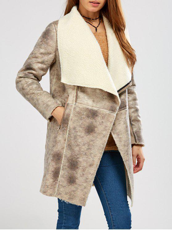 new Fleece Lining Faux Suede Shawl Coat - GRAY S