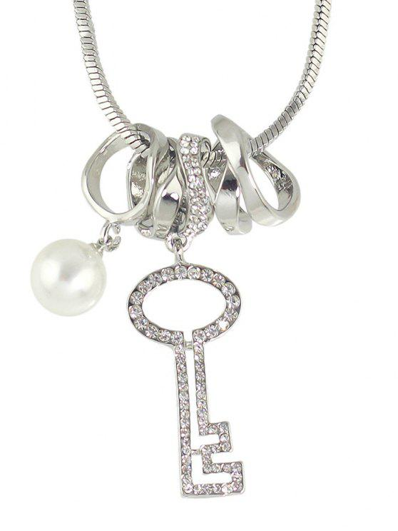 Faux Perle Stras Key Sweater Chain - Argent