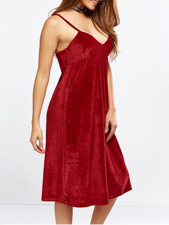 hot Velvet Cami Slip Dress - RED S