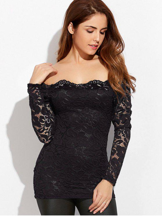 women Fitting Off The Shoulder Lace Blouse - BLACK XL
