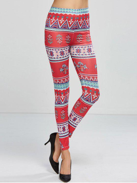 fashion Patterned Skinny Leggings - ROSE RED ONE SIZE