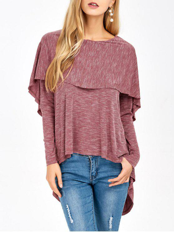 affordable Overlay High Low Hem T-Shirt - RUSSET-RED M