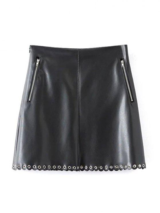 ladies PU Scalloped A-Line Skirt - BLACK L