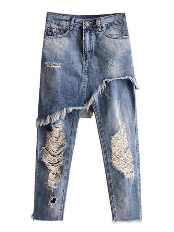 fashion Asymmetric Ripped Jeans - LIGHT BLUE M