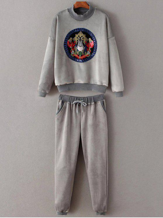 outfit Embroidered Sweatshirt and Drawstring Gym Pants - GRAY M