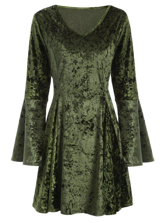 lady Bell Sleeve Fit and Flare Velvet Dress - GREEN M