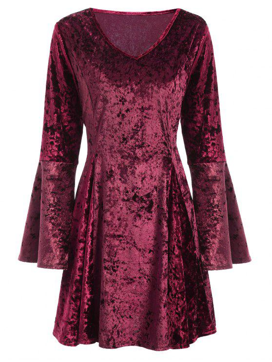 hot Bell Sleeve Fit and Flare Velvet Dress - BURGUNDY M