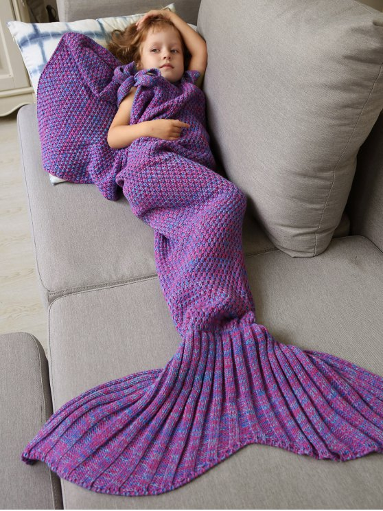 Sleeping Bag Knitted Mermaid Blanket - Púrpura