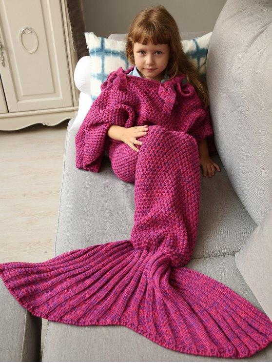 women Sleeping Bag Knitted Mermaid Blanket - ROSE RED