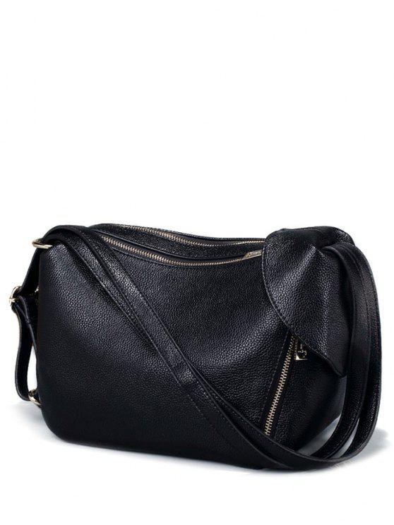 affordable Convertible Textured PU Leather Shoulder Bag - BLACK