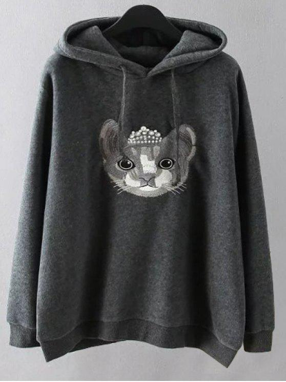 lady String Cartoon Embroidered Hoodie - GRAY XL