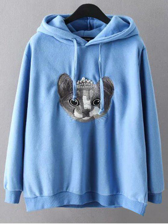 best String Cartoon Embroidered Hoodie - BLUE 3XL