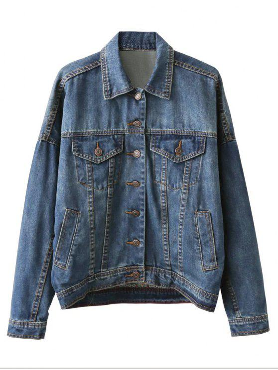 outfits Pocket Embroidered Denim Jacket - BLUE L