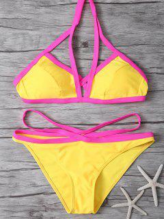 Color Block High Cut Bikini Set - Yellow S
