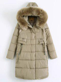 Fur Hooded Padded Coat - Khaki Xl