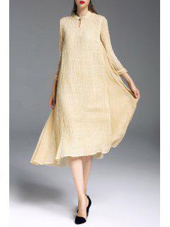 Vestido Midi Cuello Mao En Capas - Amarillo M