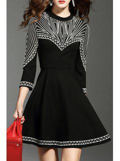 Round Neck Embroidered Mini Skater Dress - Black S