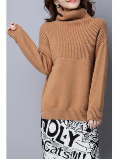 Turtleneck Sweater Slit - Camel M