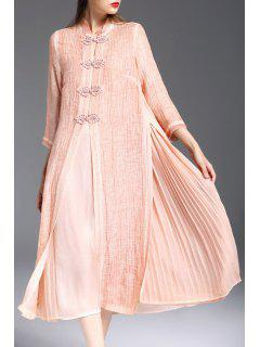 Mandarin Collar Dress With Pleated Camisole Dress - Orangepink L