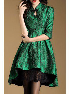 Mandarin Collar Jacquard High Low Dress - Green S