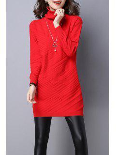Vestido Tejido Manga Larga Cuello Alto - Rojo M