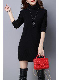 Vestido Tejido Manga Larga Cuello Alto - Negro L