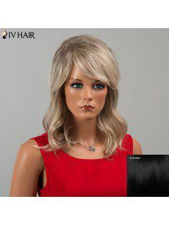 Siv Hair Medium Inclined Bang Wavy Human Hair Wig - Jet Black 01#
