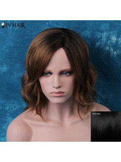 Siv Short Shaggy Side Parting Wavy Human Hair Wig - Jet Black 01#