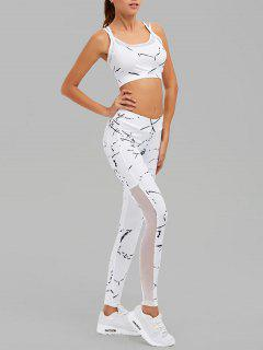 Paint Splatter Mesh Paneled Gym Suit - White S