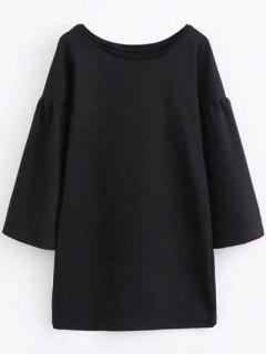 Round Collar Shift Dress - Black L