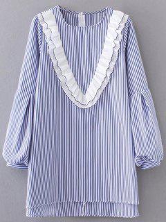 Robe Rayée à Col Rond Volanté Et Manches Lanternes - Bleu Clair S