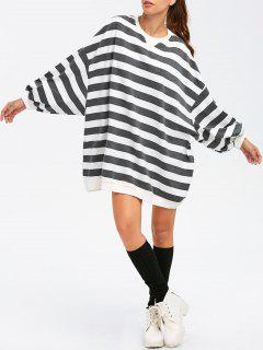 Striped Style BF Sweatshirt - Noir