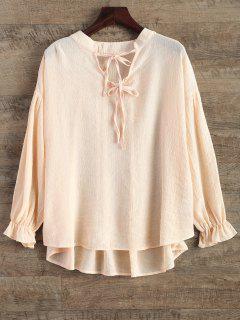 Long Sleeve V Neck Chiffon Blouse - Light Pink