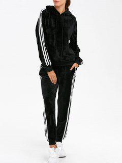Velvet Hoodie And Sweatpants - Black L