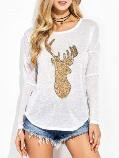 Sequins Elk Graphic Tee - White S