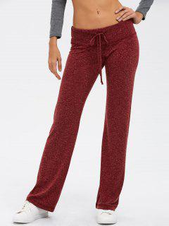 Marled Wide Leg Palazzo Pants - Wine Red S