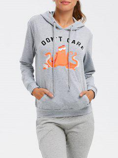 Front Pocket Drawstring Cartoon Hoodie - Gray M
