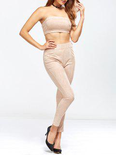 Faux Suede Bandeau Top And High Rise Pants - Nude Pink L