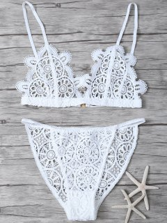 Crochet Flower Unlined Bra And Panty - White S