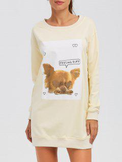Puppy Graphic Long Sweatshirt - Off-white M