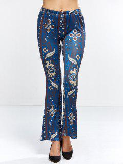 Floral Bell Bottom Pants - Purplish Blue S
