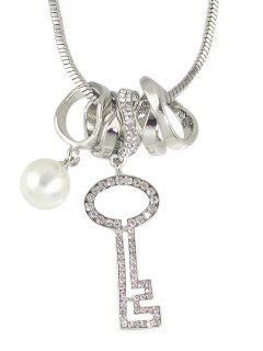 Faux Pearl Rhinestone Key Sweater Chain - Silver