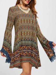 Bell Sleeve Lace Trim Printed Boho Dress - S