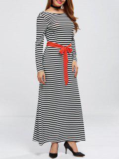 V Back Belted Striped Maxi Dress - Stripe M