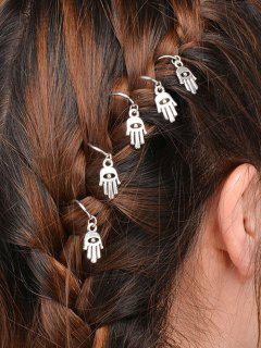 5 PCS Hand Devil Eye Hair Accessory - Silver