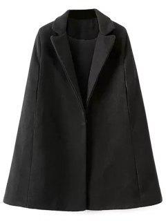 Cape Woolen Coat - Black S