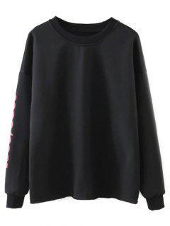 Streetwear Letter Loose Sweatshirt - Black S