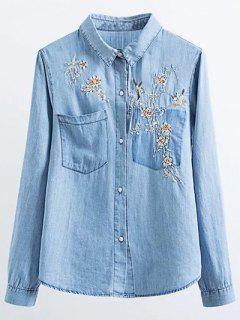 Chemise En Denim Brodé Floral - Bleu S